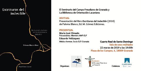 """BOL_Granada: Presentación del libro """"Escrituras del indecible"""", de Paloma Blanco"""