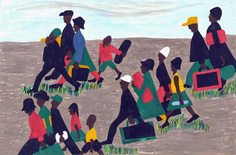 Jacob Lawrence - The Migration Series -The migrants arrived in great numbers (1940-1941).
